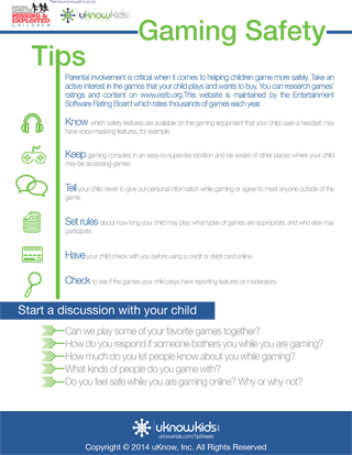 uKnowKids Gaming Safety Tip Sheet