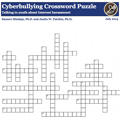 cyberbullying crossword image